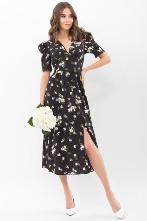 Платье Фариза к/р. Цвет: черный-белый букет