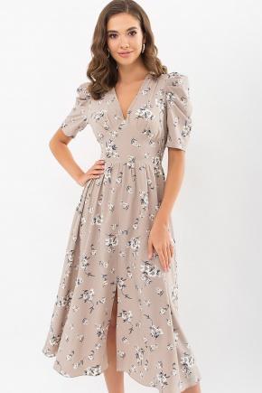 Платье Фариза к/р. Цвет: бежевый-белый букет