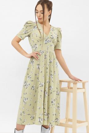 Платье Фариза к/р. Цвет: оливка-белый букет