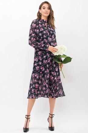 Платье Мануэла д/р. Цвет: синий-розов. Розы