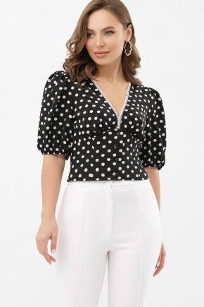 Блуза Инара к/р. Цвет: черный-белый горох