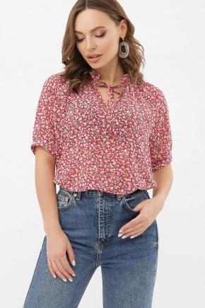 Блуза Ольви к/р. Цвет: красный-м.цветы
