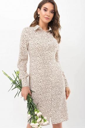 Платье-рубашка Элиза д/р. Цвет: молоко-разноцв.пятна