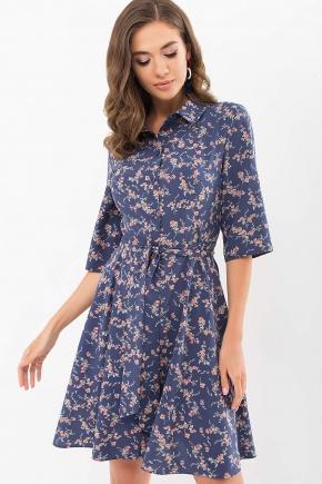 Платье Асфари к/р. Цвет: т.джинс-коралл цветок