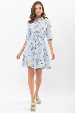 Платье Асфари к/р. Цвет: голубой-цветы-ягоды