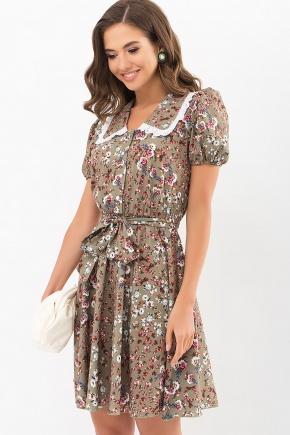 Платье Эйми к/р. Цвет: хаки-м. розы