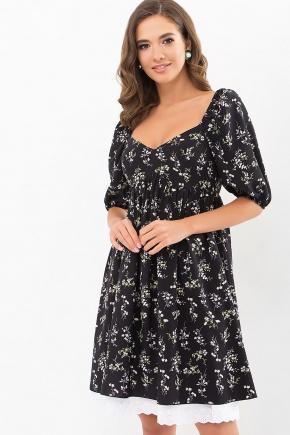 Платье Эсмина к/р. Цвет: черный-полевые цветы