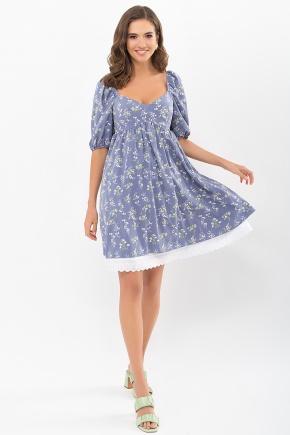 Платье Эсмина к/р. Цвет: джинс-полевые цветы