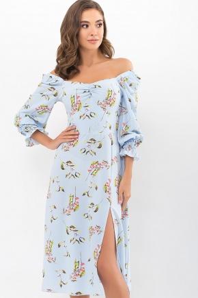 Платье Пала д/р. Цвет: голубой-цветы-ягоды