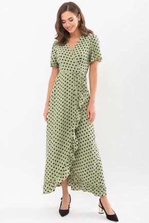 Платье Румия к/р. Цвет: хаки-черный горох