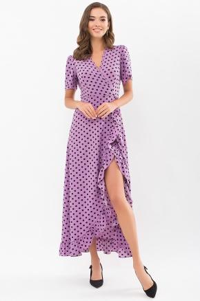 Платье Румия к/р. Цвет: сиреневый-черный горох