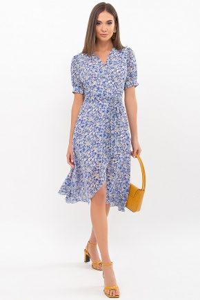 Платье Алеста к/р. Цвет: голубой-ромашки