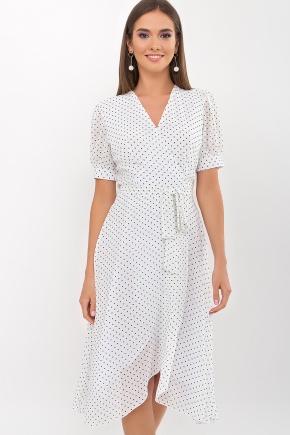 Платье Алеста к/р. Цвет: белый-черный м. горох