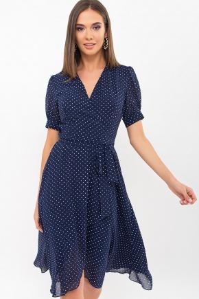 Платье Алеста к/р. Цвет: т.синий-белый м. горох