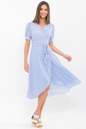 Платье Алеста к/р. Цвет: голубой-черный м.горох