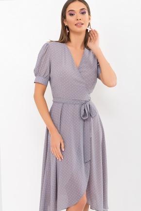 Платье Алеста к/р. Цвет: серый-пудра м.горох