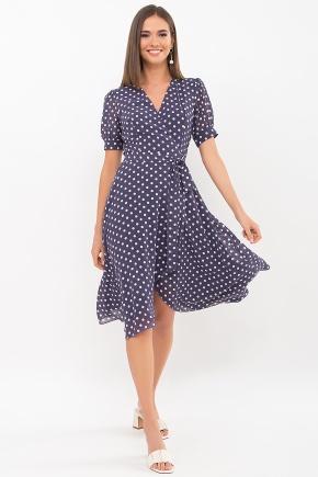 Платье Алеста к/р. Цвет: синий - белый горох