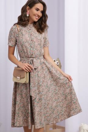 Платье Изольда к/р. Цвет: капучино-зеленый цветок