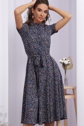 Платье Изольда к/р. Цвет: синий-персик цветок