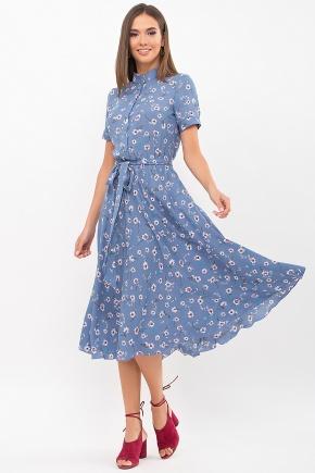 Платье Изольда к/р. Цвет: джинс-ромашки