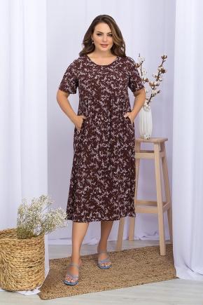 Платье Ирма-Б к/р. Цвет: шоколад-сирен.цветок
