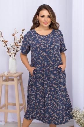 Платье Ирма-Б к/р. Цвет: т.джинс-коралл цветок