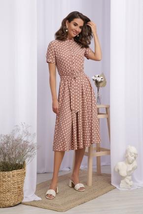 Платье Изольда к/р. Цвет: капучино-белый горох