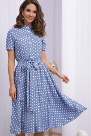 Платье Изольда к/р. Цвет: джинс-белый горох
