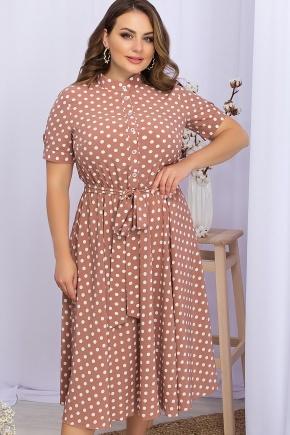 Платье Изольда-1Б к/р. Цвет: капучино-белый горох