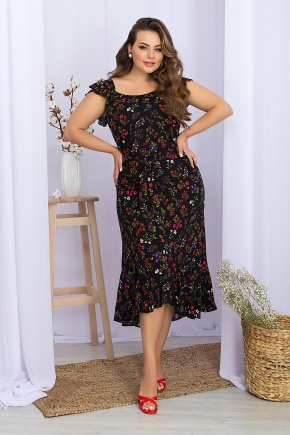 Сарафан Шания-1Б. Колір: черный-разноцв.цветы