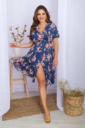 Платье Аморина-Б к/р. Цвет: джинс-крупный цветок