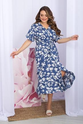 Платье Пейдж-Б к/р. Цвет: джинс-белые цветы