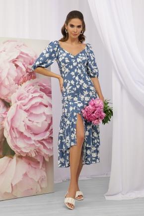 Платье Аделаида к/р. Цвет: джинс-белые цветы