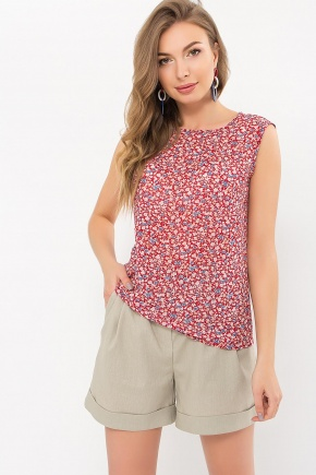 Блуза Виринея б/р. Цвет: красный-м.цветы