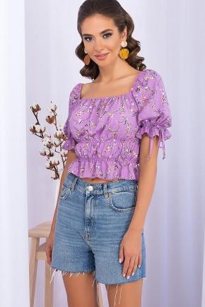 Топ Паллада к/р. Цвет: лиловый-цветы веточки