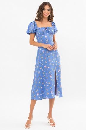 Платье Билла к/р. Цвет: голубой-розовые цветы