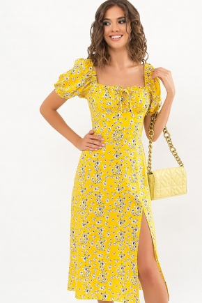 Платье Билла к/р. Цвет: желтый-белые цветы