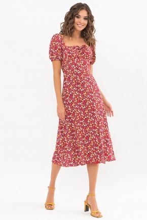 Платье Билла к/р. Цвет: красный-желтые Розы