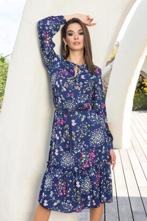 Платье Агафия-1 д/р. Цвет: синий-полевые цветы