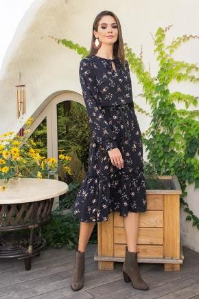 Платье Агафия-1 д/р. Цвет: черный-м.букет