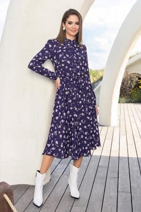 Платье Изольда-1 д/р. Цвет: синий-ромашки