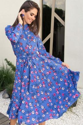 Платье Изольда-1 д/р. Цвет: джинс-цветочки
