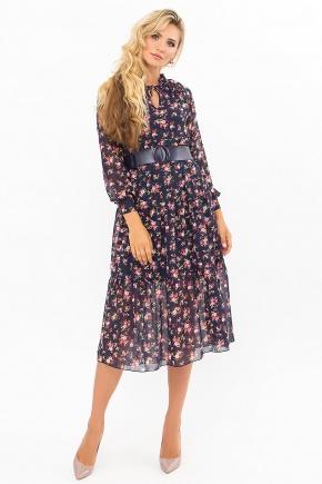 Платье Мариэтта д/р. Цвет: синий-букет разноцветн