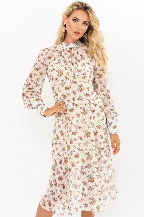 Платье Мануэла д/р. Цвет: молоко-букет Роз
