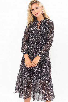 Платье Мариэтта д/р. Цвет: черный-цветы веточки