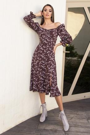 Платье Пала д/р. Цвет: шоколад-сирен.цветок