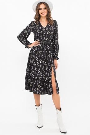 Платье Алексия д/р. Цвет: черный-полевые цветы