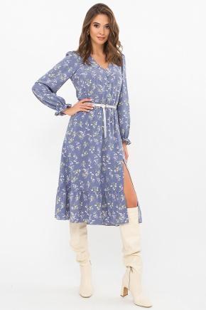 Платье Алексия д/р. Цвет: джинс-полевые цветы