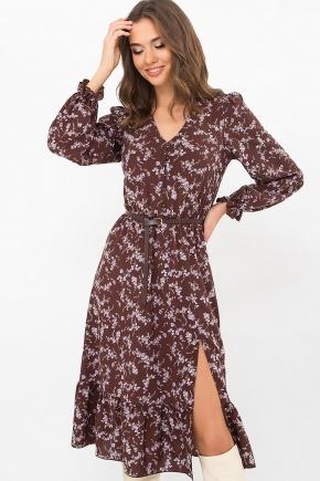 Платье Алексия д/р. Цвет: шоколад-сирен.цветок