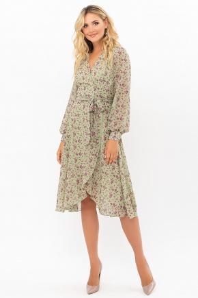Платье Алеста д/р. Цвет: хаки- сиреневые цветы